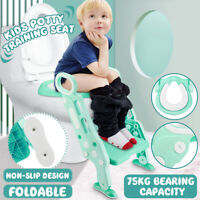 Adjust Toddler Potty Trainer Chair Kids Toilet Seat Step Stool Ladder Folding US