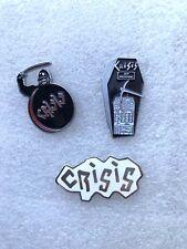 3 x CRISIS Pin Badge Post Punk Anarcho Industrial UK79 No Town Halls Holocaust