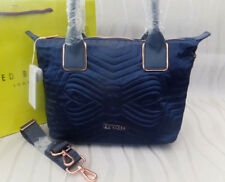 Ted Baker Ladies Navy AKEBIA Quilted Bow Small Nylon Cross Body Tote Bag BNWT
