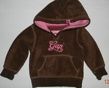 BABY GAP girls Brown Pink Fleece LOGO Hoodie SWEATSHIRT* 2T 2