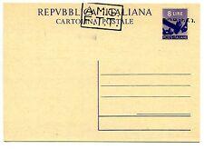 Trieste A - C.P. Lire 8 Democratica n. C2A con soprastampa a mano A + B