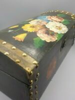 "Antique Folk Art Hand Painted Box Chest Brass Tacks Tole Flowers Wood 16"" x 7.5"""