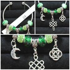 Open Bangle Celtic Charms & Moon & Green Beads OOK Handmade Christmas #24