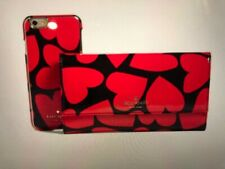 NWOT Kate Spade iPhone 8  Case and Wallet Black Red Hearts (P)