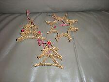 Vintage Ornaments Wicker Reed Natural Raffian Husk Woven Tree Lot 3 Christmas