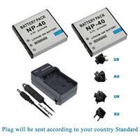 2Pcs NP-40 Battery +main&car Charger For Ordro Z20 Z80 Z8P Digital DV Camera
