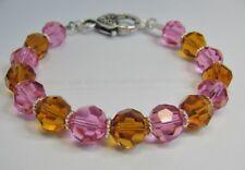 Bracelet Made With Swarovski Pink, Topaz, Sterling Silver & Pewter Heart Clasp