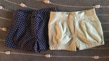 JANIE & JACK  Set of Two Shorts Size 2T  Navy/White Polka Dots & Green Gingham