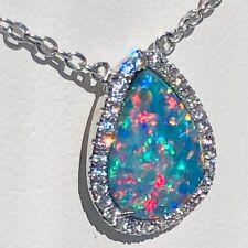 "100% Australian RED Opal Ladies Pendant Sapphires Prototype w/Chain 18"" & 16"""