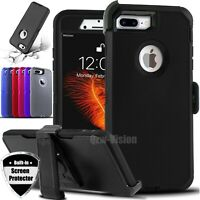For iPhone 6 7 8 Plus Shockproof Rugged Case With Belt Clip & Screen Protector