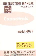 Barber Colman 407p In 12113 7a 6407a Capacitrols Instructions Manual