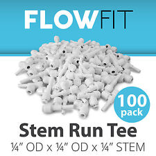 """Stem Run Tee 1/4"""" Fitting Connection Parts for Water Filter / RO System - 100 PK"""
