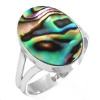 925 Sterling Silver Ring Natural Abalone Shell Handmade Jewelry Size T Je73825