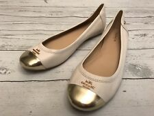 COACH Chelsea Leather Ballet Flats Ivory & Gold Toe Shoes Size 7 B