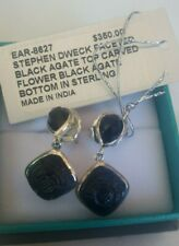 NEW STEPHEN DWECK STERLING SILVER FACETED AND CARVED BLACK AGATE EARRINGS