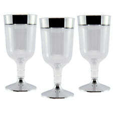 20 X Desechable Plástico Copas De Vino fuerte 170ml/6oz elaborado con Borde de Plata