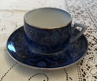 Antique Flow Blue Cup & Saucer Marked Superior Germany - 19th Century Victorian