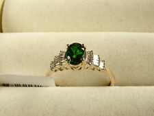 Russian Imperial Diopside & Baguette Diamond 9K Y Gold Ballerina Ring Size Q/8