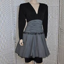 VTG Lian Carlo V Neck Ruched Empire Waist A Line Dress Shoulder Pads Black Sz 8