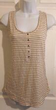 Eddie Bauer Tan, White Striped w Sequin Cotton Knit Shirt Tank Top Medium