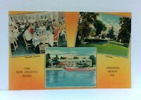 Colonial Beach Virginia New Atlanta Hotel Multiview Linen Vintage Postcard