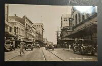 1934 King Street Honolulu Hawaii Busy Street Seen Real Photo Postcard Cover