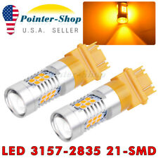 2 X Amber Yellow 3157 3156 21 SMD LED Turn Signal Parking Stop Light Bulbs 4157