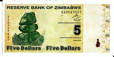 ZIMBABWE 2009 5  DOLLARS CURRENCY UNC