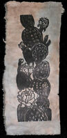 Original Woodcut Print Art Blooming Prickly Pear Cactus  Desert Lotka Paper