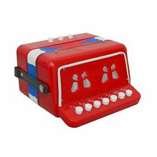 More details for new! 7 keys 2 bass children's red toy accordion musical instrument