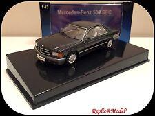 █▓▒░ ★ 1/43 MERCEDES-BENZ 500 SEC (W126) COUPE BLUE BLACK AUTOART 56211 ★░▒▓█
