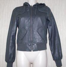 AQUA Genuine Leather  Gray Hooded Jacket Bomber Women's Size:XS