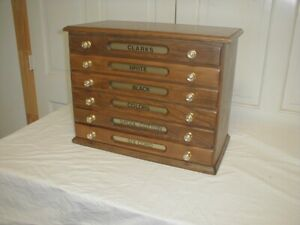 CLARK's Spool Cabinet 6 Drawers Circa 1900 Excellent Refinished Condition