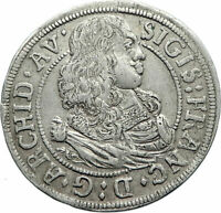 1664 AUSTRIA County of Tyrol State Crown Genuine Silver 3 Kreuzer Coin i74796