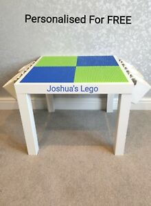 LEGO Table Blue & Green Base Plate Organised Storage Play Set Up Personalised