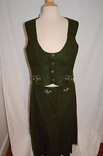 Vtg GREEN WOOL OCTOBERFEST german LODEN 2-PIECE OUTFIT SKIRT COSTUME SZ LARGE