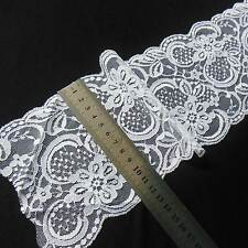 """By Yard 12cm 4.7"""" wide nice Lace Trim BRIGHT WHITE Designer Material #1002 Fabri"""