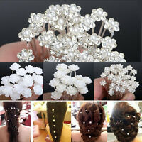 Lots Wedding Bridal Pearl Flower Crystal Hairpin Hair Pins Clips Accessories New