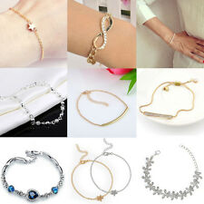 Fashion Charms Gift Infinity Crystal Pave Bar Slider Bracelet Adjustable Chain