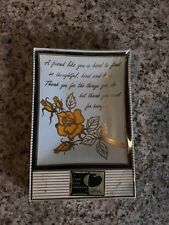 Vintage Houze Art Tray Trinket Glass Candy Dish Novelty Friend Flower Quote Than
