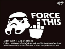 *FORCE THIS STAR WARS STORMTROOPER  funny reflective CAR TRUCK STICKER BEST GIFT