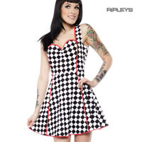 Sourpuss Clothing Goth Mini Skater Dress LUCILLE Check Speed Queen All Sizes