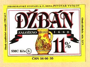 ETICHETTA - DZBAN 11%ZALOZENO 1680 - JIHOMORAVSKE' PIVOVARY K.P. BRNO - N.117