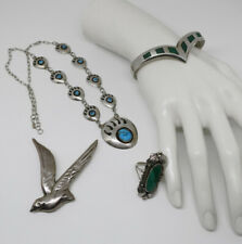 Sterling Silver Jewelry Lot of 9 Vintage Mexican Modernist 200 + Grams  Indian