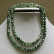 "100% Natural Untreated Grade ""A"" Beautiful Green Jadeite Bead Necklace 5.7mm 20"""