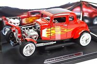 FORD 1932 MODEL A 5 WINDOW COUPE HOT ROD RED FLAMES 1:18 NEW MOTORMAX 73172