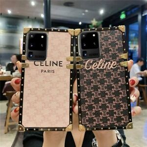 Luxury Metal Square PU Leather Phone Case Cover