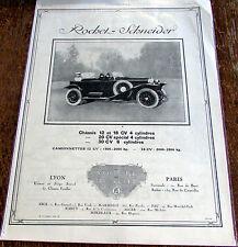 ROCHET SCHNEIDER / 12 ET 18 CV   / 1924   /  AUTOMOBILE  PUBLICITE ANCIENNE