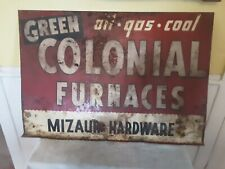Vintage Colonial Furnace Gas Oil Coal heavy Metal Sign. Double sided 40