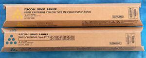 2 Set Ricoh 841455 Yellow Print Cartridge - 841423 Cyan MP C5000 C3501